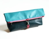 Leather Foldover Clutch / Oversized Clutch / Toiletry Bag / Cosmetic Bag - The Lulu Travel Foldover Clutch in Aqua Blue and Emerald Green