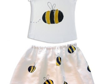 Girl's Bumble Bee Skirt and T-shirt Outfit / Children's Clothes / Top