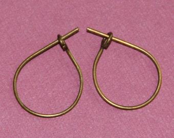 30 pcs of antique brass earwire teardrop hoop 20x13mm Hand made in USA
