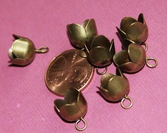 Bulk 120 pcs of antique brass flower bead cap/ end cap
