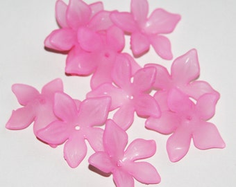 30 pcs of Frosted Acrylic  flower beads 27mm  light pink