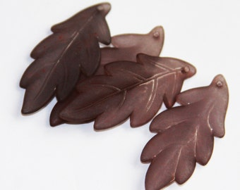 20 pcs of Frosted Acrylic leaf drops 43x17mm - Brown