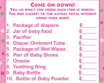 24 Baby Shower Price is Right Game Cards  UNDER THE SEA  -  Pinks