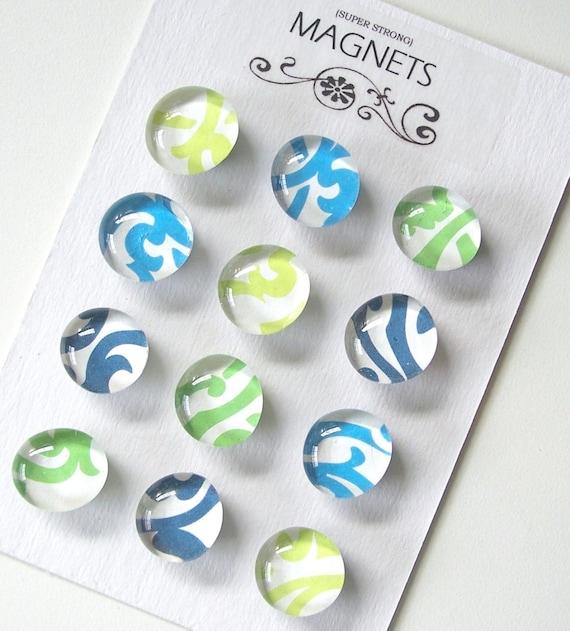 SALE- Colorburst - Set of 12 Glass Magnets LAST SET