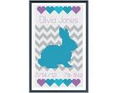 Bunny Girl Birth Announcement Cross Stitch Pattern Instant Download
