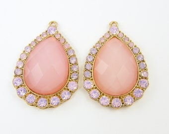 Pink Chandelier Earring Findings, Rhinestone Drop Bridal Jewelry Findings Pair of Pink Gold Teardrop Earring Components, Charms  P1-7 2