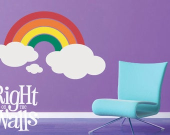 "Rainbow Wall Decal and Vinyl Wall Art, 61"" wide, Removable Clouds and Rainbows Wall Art Stickers"