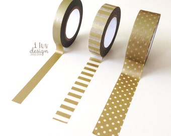 3 Metallic Gold Washi Tapes (78 Feet/Pkg) Decorative Tape Gold Washi Tape Set (42601-1)