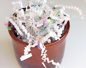 SALE White & Iridescent Crinkle Paper Shred • White Spril Fill • Zig Fill (9oz) 100% Recycled Papers
