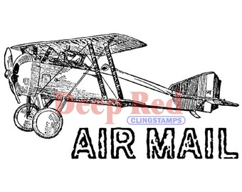 Vintage Air Mail Rubber Stamp (Cling Stamp) Air Mail Rubber Stamp • Vintage Airplane Stamp • Old Plane (4X504262)