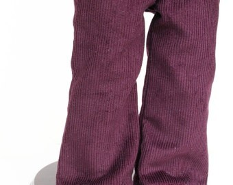 Fits American Girl Doll - Doll Clothes - Flared Corduroy Pants in Dark Grape, Made To Order
