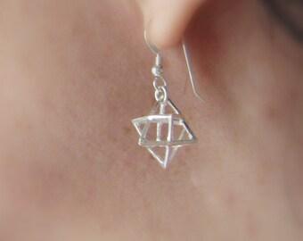 Merkaba charm earrings sterling silver Star tetrahedron