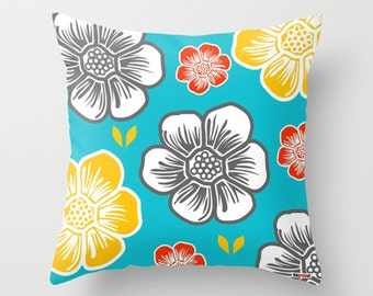 Decorative throw pillow cover - Colorful pillow cover - Surf pillow - Flowers Decorative pillow - Summer pillow