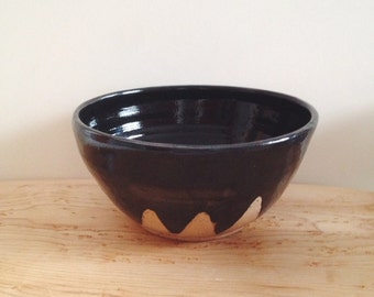Black Mountain Ceramic Bowl, Black geometric bowl with triangle mountain design, wheel thrown bowl, black pottery bowl