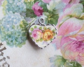Vintage Recycled Broken China Sweet Pink and Yellow Roses Bracelet Heart Charm or Pendant