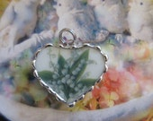 Vintage Broken or Shabby China Sweet Lily of the Valley Bracelet Charm