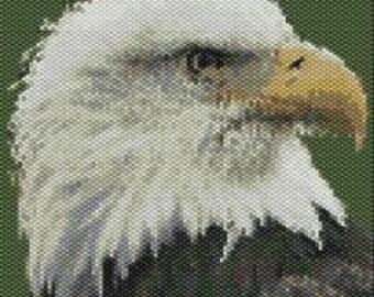 Bald Eagle Head,  Beaded Tapestry Pattern