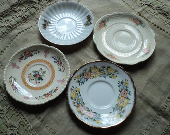 Four Pretty Mismatched Saucers/Plates Shabby Chic-Vintage-Cottage Style