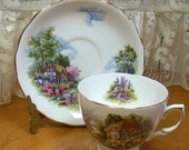 Vintage Royal Vale Bone China cup and saucer - Numbered - Thatched roof House and Scenery
