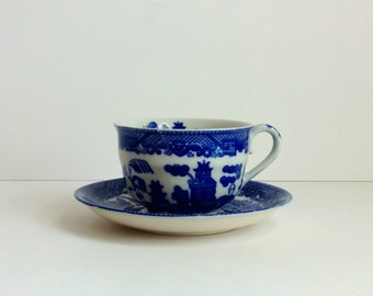 vintage cobalt blue transferware cup and saucer Japan