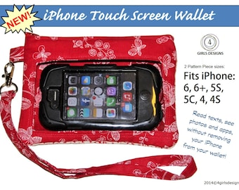 NEW iPhone 6 and 6+ Touch Screen Wallet PDF Sewing Pattern. Fits All iPhones, iPods, and Many Smartphones