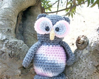 Plush Toy Owl - Grace the Gray Owl - Stuffed Toy Amigurumi Owl in Crochet - Cute & Cuddly Plush Owl - Ready-to-Ship