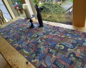 Reversible Picasso Inspired Tapestry Table Runner in Shades of Blues, Reds and Purples