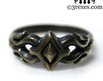 Tiny Princess Friendship Ring Dark Brass Gothic Fairy Tale Size 8