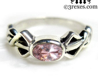 Pixie Friendship Ring Silver Celtic Knot Pink CZ Size 5