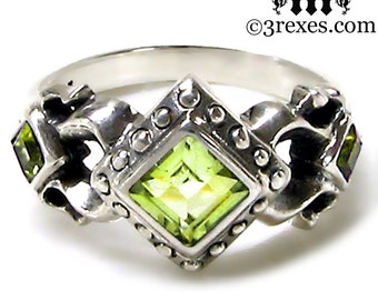 Royal Princess Wedding Ring Green Peridot Stone Gothic Sterling Silver Band Size 5