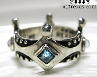 Silver Crown Engagement Ring Brandy Wine Gothic Medieval Band Blue Topaz Size 9