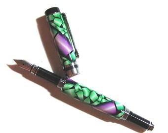 Traditional fountain pen polymer clay silver chrome finish Millefiori design FP109