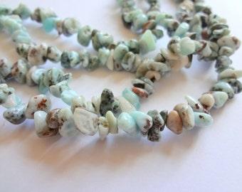 "Natural Larimar Small Chip Semi Precious Gemstone Beads, 35"" Inch Full Strand"