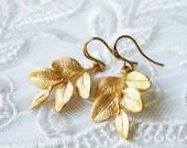 Gold Leaf Earrings, Branch Earrings
