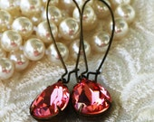50 0/0 OFF use COUPON Rose Peach Swarovski Crystal Earrings, Bridesmaid Gift, Birthday, Everday Jewelry