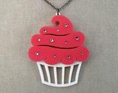 """Sparkle Cupcake Necklace - LARGE 2.5"""" - Acrylic Laser Cut Necklace (C.A.B. Fayre Original Design)"""