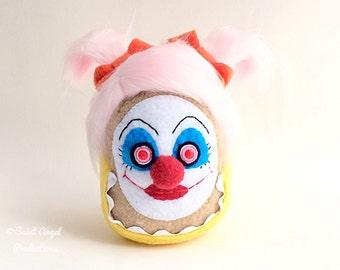 Weird Girl Clown Plushie, on SALE, Crazy Pink Hair, Stuffed Creepy Scary Halloween Doll, Insane, Evil Circus, Carnival Plush, READY to SHIP