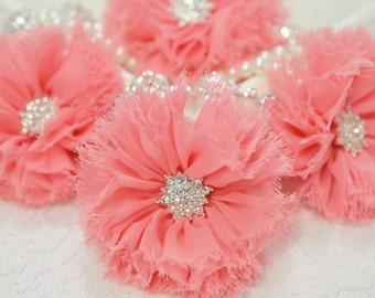 New! 2pcs Handmade soft shabby chiffon flowers--bubblegum (FB1047)