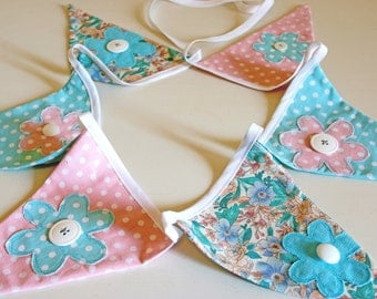 Fabric Banner Blue & Pink Bunting Banner- Fabric Pennant Bunting Banner- Flower Appliqué -  Seam Binding Banner