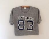 Vintage thin athletic grey cropped tee Daytona tshirt tee Heather grey t-shirt Vintage tee shirt 25th annual daytona 500 tee sports t shirt