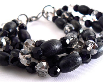 Black Four Strand Wood Bracelet, Black Diamond Crystal Bracelet, Modern Multi Strand Black Jewelry, Lightweight Versatile Bracelet (2284)