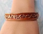 1950s Copper Renoir Bracelet Unusual Wood Rare Vintage Bangle