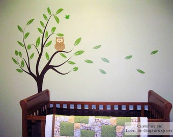 Cute Owl in Tree Branch Vinyl Wall Decal • Custom Wall Art for Kids • Customize • Woodland Nature Nursery Bedroom Playroom • Baby Gift