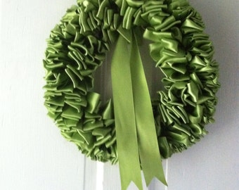 Peridot Ribbon Wreath 12 inch Nest Eggs Lime