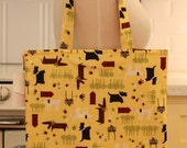 Book Bag Tote Purse - Dogs on Yellow