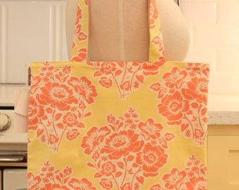 Book Bag Tote Purse - Pink Flowers on Yellow