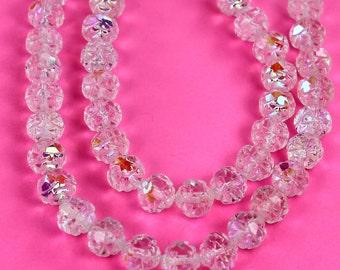 25 Crystal AB Czech Firepolish Rosebud Glass Beads 7/8mm
