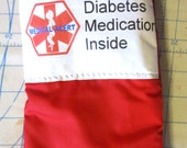 Diabetic medication insulated pouch carrier zippered bag basic for diabetes medications -select your color