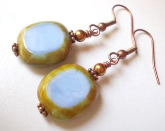 Opal Blue Dangle earrings rustic country style Czech glass earring drops in copper milky mint pale turquoise blue faux stone rock for women
