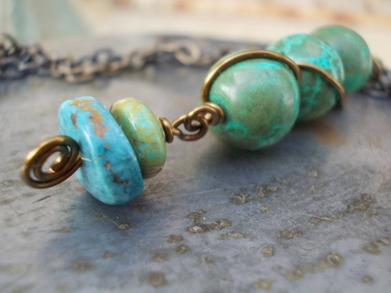 Turquoise necklace rustic gemstones and brass tribal totem wire wrapped stone ethnic primitive men women chain necklace blue green bronze